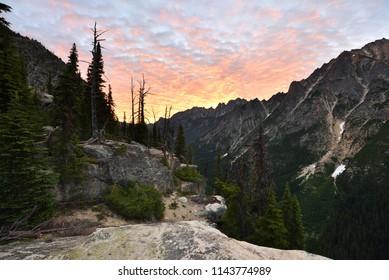Washington Pass and Kangaroo Ridge at sunset, Washington State