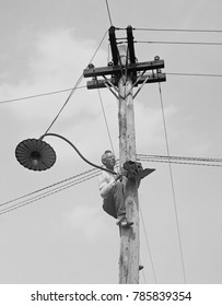 Washington photographer, A.W. Leonard, climbed a utility pole to get the right angle for his picture, 1923