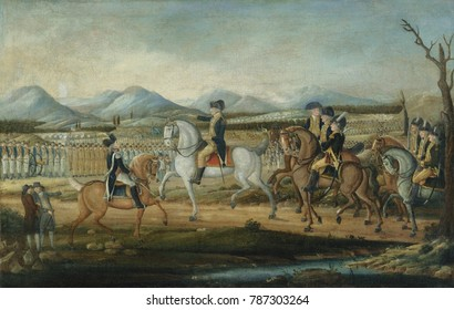 WASHINGTON REVIEWING THE WESTERN ARMY, by Kemmelmeyer,Fred., 1796-99, American oil painting. The troops were mobilized to put down the Whiskey Rebellion in western Pennsylvania on Oct. 16, 1794. The r