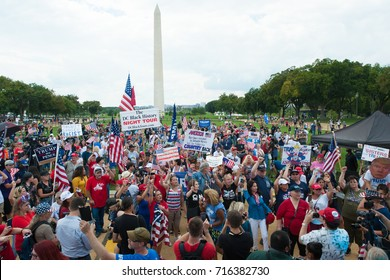 "WASHINGTON SEPTEMBER 16: Trump supporters at M.O.A.R., the ""Mother of All Rallies"" in Washington DC on September 16, 2017"