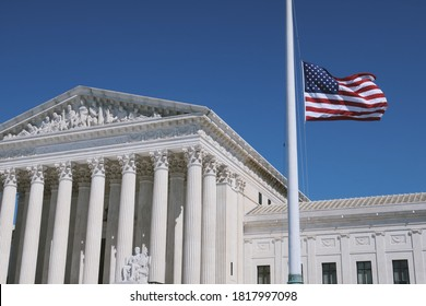 WASHINGTON - SEPTEMBER 19, 2020: US SUPREME COURT flies USA flag at half-mast to mourn the death of JUSTICE RUTH BADER GINSBURG