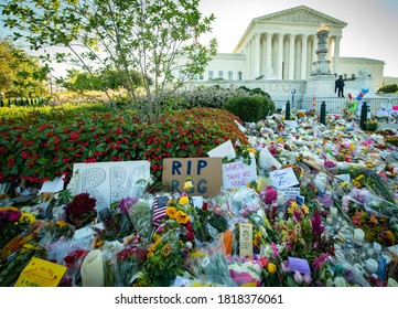 WASHINGTON SEPTEMBER 20, 2020 – Notes and flowers are left at the Supreme Court of the United States in memory of late Supreme Court Justice Ruth Bader Ginsburg in Washington DC on September 20, 2020