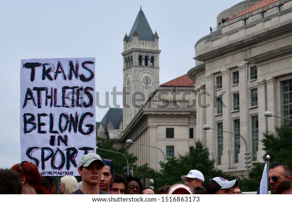 WASHINGTON - SEPTEMBER 28, 2019:  NATIONAL TRANS VISIBILITY MARCH ON DC - sign Trans Athletes Belong in Sport