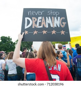 WASHINGTON SEPTEMBER 9: A DACA supporter holds a sign at a rally  in Washington DC on September 9, 2017, after President Trump announced that he would end the DACA program