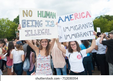 WASHINGTON SEPTEMBER 9: A DACA supporters hold a sign at a rally  in Washington DC on September 9, 2017, after President Trump announced that he would end the DACA program