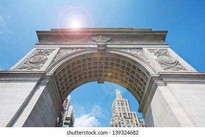Washington Square Arch (built in 1889) in New York City, NY.