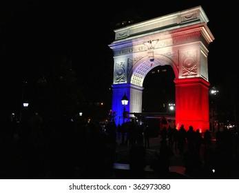 Washington Square Arch Commemorates Paris Attacks