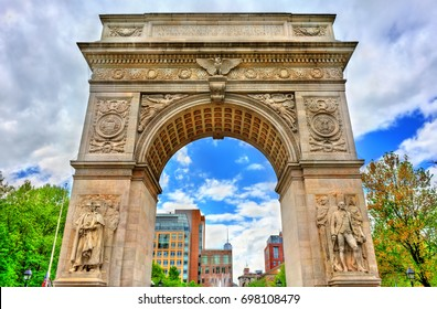 The Washington Square Arch, a marble triumphal arch in Manhattan - New York City, USA