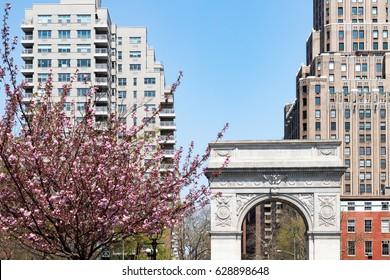 Washington Square Park arch spring scene in Manhattan New York City