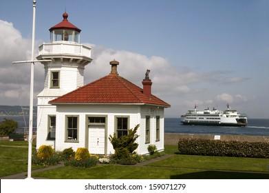 Washington State Coastal Lighthouse Nautical Beacon Ferry Boat Transportation