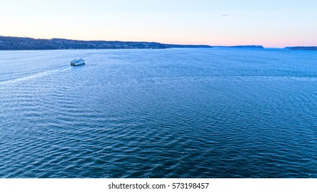 Washington State Ferry Boat in Puget Sound Sunset Mukilteo Whidbey Island