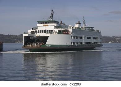 The Washington state ferry, Chelan, docking at the Mukilteo ferry dock