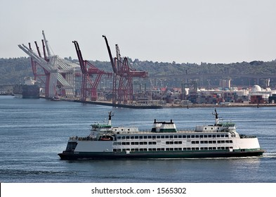 Washington state ferry crossing Puget Sound at Seattle