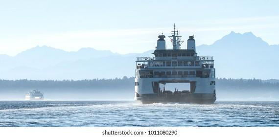 Washington State Ferry  in Elliott Bay, Seattle,