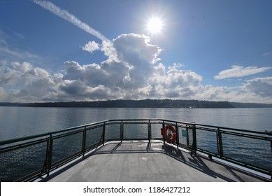 Washington State ferry on sunny day in fall in Seattle on Puget Sound