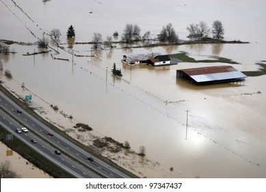 Washington state flooding in the farm valleys along Interstate 5.