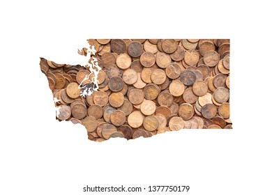 Washington State Map and Money Concept, Piles of Coins, Pennies