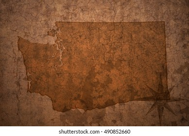 washington state map on a old vintage crack paper background