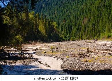 Washington state Pacific Northwest mountains and desert. a bank in the creates whitewater and tumult