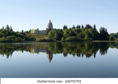 Washington State's capitol with its reflection in Capitol Lake in Olympia, WA, USA.