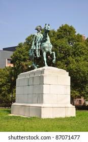 Washington Statue in Washington Circle in downtown Washington DC, USA