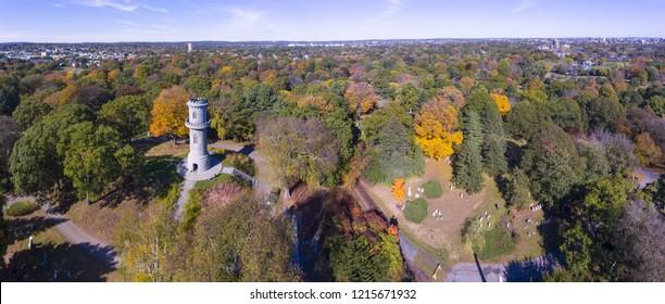 Washington Tower in Mount Auburn Cemetery in fall, Watertown, Greater Boston Area, Massachusetts, USA.