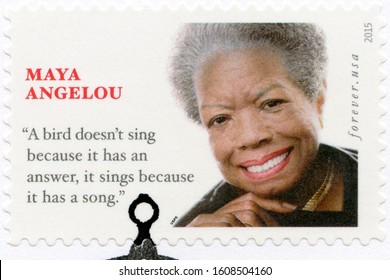 WASHINGTON, UNITED STATES OF AMERICA - APRIL 07, 2015: A stamp printed in USA shows Maya Angelou Marguerite Annie Johnson (1928-2014), American singer and civil rights activist, Forever, 2015