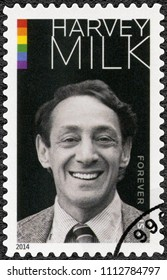 WASHINGTON, UNITED STATES OF AMERICA - MAY 22, 2014: A stamp printed in USA shows Harvey Bernard Milk (1930-1978)  American politician and the first openly gay elected official , 2014