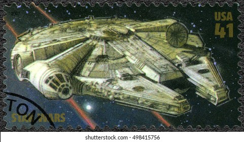 WASHINGTON, UNITED STATES OF AMERICA - MAY 25, 2007: A stamp printed in USA shows Millennium Falcon, series Premiere of Movie Star Wars 30 anniversary