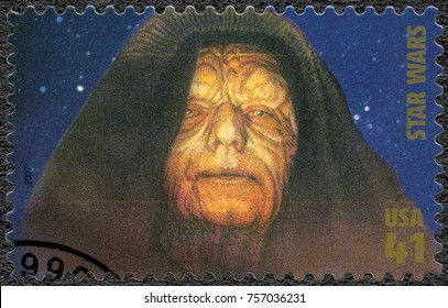 WASHINGTON, UNITED STATES OF AMERICA - MAY 25, 2007: A stamp printed in USA shows Emperor Sheev Palpatine, Darth Sidious series Premiere of Movie Star Wars 30 anniversary, 2007