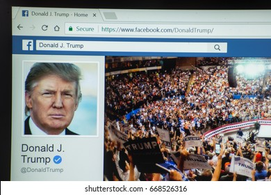 Washington, United States, June 28, 2017: Official facebook profile of president of United States of America Donald J. Trump