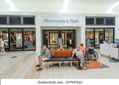 WASHINGTON, US - JULY 19, 2015: Abercrombie & Fitch clothing store in Southcenter shopping at Tukwila. An American fashion brand known for its trendy & collegiate-inspired casualwear & accessories