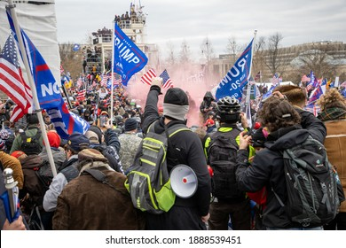 Washington, USA - 06 January 2021. Protestors descend upon Capitol Hill to contest the certification of the Presidential Election