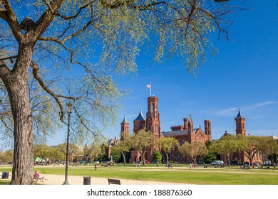 WASHINGTON, USA - APRIL 10: People visit the Smithsonian Institution on April 10, 2014 in Washington DC. 18.9 million tourists visited capital of the United States in 2012.