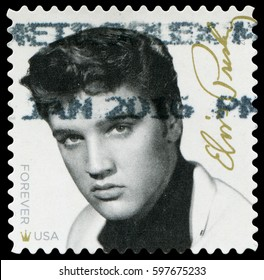 Washington, USA - Aug.15, 2015: Elvis Aaron Presley(1935-1977), American singer and actor, one of the most significant cultural icons of the 20th century, Stamp issued by USPS in 2015.