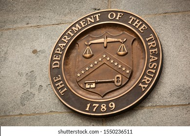 Washington, USA - August 09 2019: Plaque of the Department of Treasury on the Treasury Building in Washington, DC