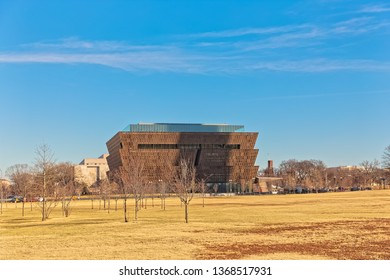 WASHINGTON, USA - JANUARY 19, 2018: National Museum of African American History and Culture in capital city on 1400 Constitution Avenue.