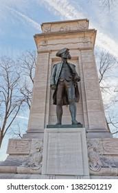 WASHINGTON, USA - JANUARY 20, 2018: Bronze statue of the John Paul Jones first naval war hero, monument in West Potomac Park.