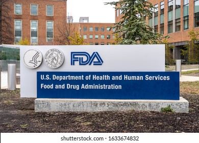 Washington, USA- January13, 2020: FDA Sign outside their headquarters in Washington. TheFood and Drug Administration(FDAorUSFDA) is afederal agency of the USA.