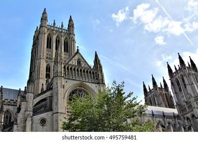 WASHINGTON, USA - JULY 7, 2011: The impressive architecture of Washington National Cathedral, DC