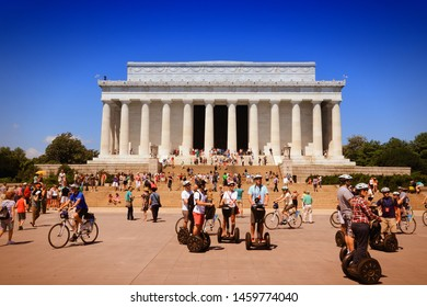 WASHINGTON, USA - JUNE 15, 2013: People visit Abraham Lincoln memorial in Washington. 18.9 million tourists visited capital of the United States in 2012.