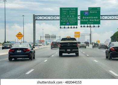 WASHINGTON, USA - JUNE, 23 2016 - Maryland Baltimore to Washington heavy car traffic Congested highway