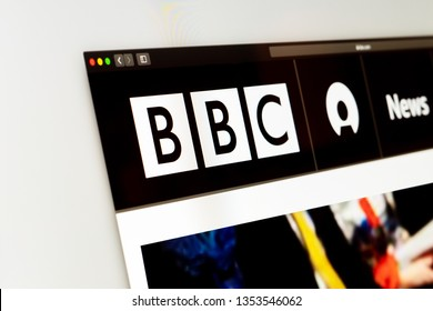 Washington, USA - March 29, 2019: BBC News website homepage. Close up of BBC News channel logo. Сan be used as an illustration for other news media or sites, as well as a link to the source of news