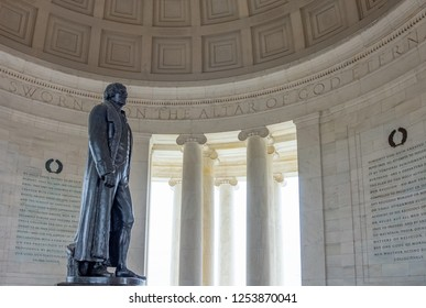 Washington, USA - October 12, 2017: The statue of the President Thomas Jefferson in the the Jefferson Memorial