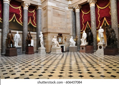 WASHINGTON, USA - OCTOBER 7, 2012: Statues part of The National Statuary Hall Collection in the United States Capitol which is composed of statues donated by individual states.