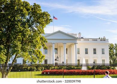 WASHINGTON, USA - SEP 23, 2015: White House, the US President Residence, Washington DC, Virginia
