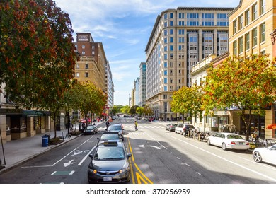 WASHINGTON, USA - SEP 24, 2015: Architecture and traffic of Washington DC.  Washington is the capital of the United States