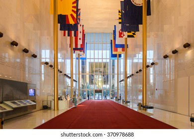 WASHINGTON, USA - SEP 24, 2015: Interior of the John F. Kennedy Center for the Performing Arts. The Center produces and presents theater, dance, ballet, orchestral, chamber, jazz and folk music