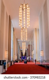 WASHINGTON, USA - SEP 24, 2015: Hall at John F. Kennedy Center for the Performing Arts. The Center produces and presents theater, dance, ballet, orchestral, chamber, jazz, popular, and folk music