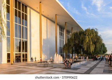 WASHINGTON, USA - SEP 24, 2015: Exterior of John F. Kennedy Center for the Performing Arts. The Center produces and presents theater, dance, ballet, orchestral, chamber, jazz, popular, and folk music